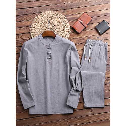 Linen Henry Collar Pajamas Set