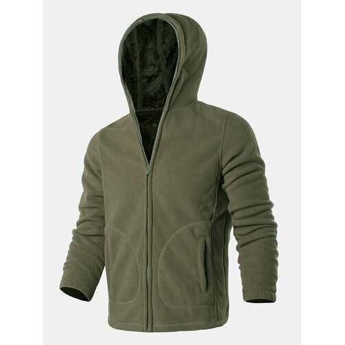 Solid Pocket Zipper Hooded Sport Jackets