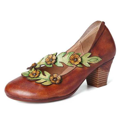 Retro Sunflower Vine Strap Leather Shoes