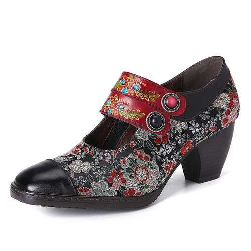 Retro Flower Leather Pumps