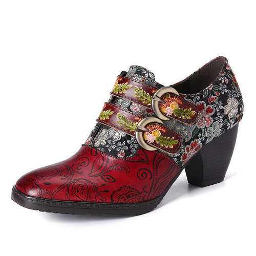 Retro Flower Embossed Leather Pumps