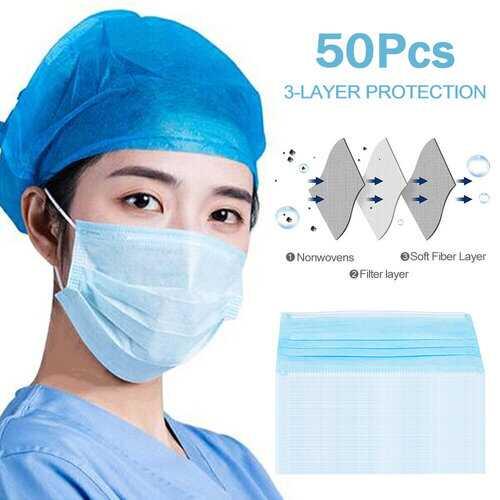 50 PCS Disposable Face Masks