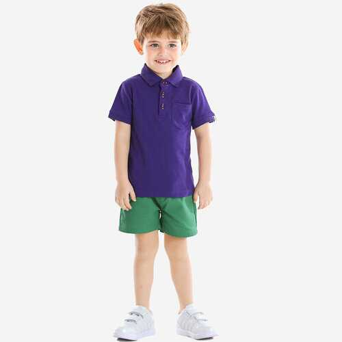 Boy's Purple T-shirts+Pants Set For 1-8Y