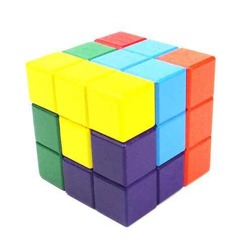 Puzzle Brain Teaser IQ Mind Wood Tetris Cube