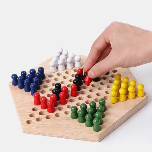 Chinese Checker Game Set Wooden Educational Board Kids Chinese Checkers Set Strategy Family Game
