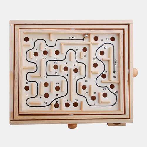 Montessori 3D Maze Games Knob Wooden Labyrinth Toys