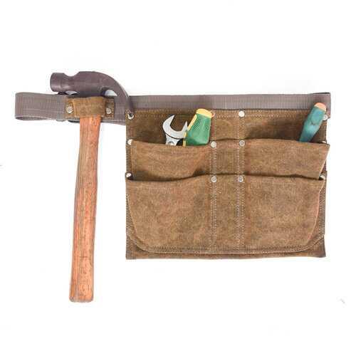 4 Pockets Multifunctional Waterproof Waxed Waist Bag Wear-resisting Storage Pack for Hammer Plier Wrench Maintenance Tools