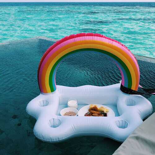 Beach Picnic Party Inflatable Water Ice Bar Table Cup Salad Plate Pool Phone Cup Drink Floating Holder Mini Beach Floating Row