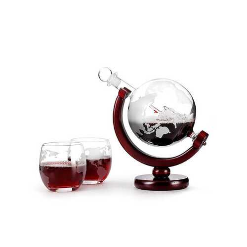 Map Pattern Decanter Wine Glass Craft Wine Set