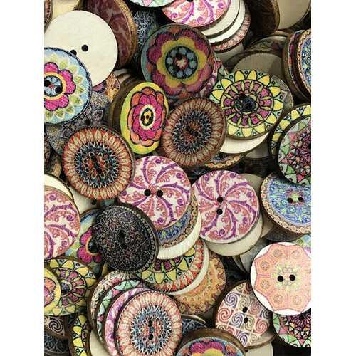 100 Pcs Classic Retro Disc Printed Flowers Wooden Buttons European DIY Handmade Buttons