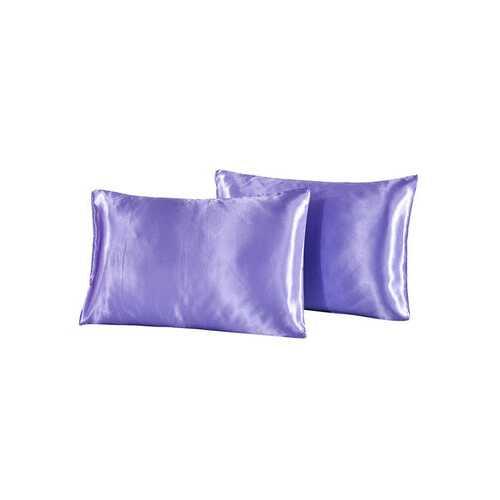 2 pcs/set Soft Silk Satin Pillow Case Bedding Solid Color Pillowcase Smooth Home Cover Chair Seat Decor