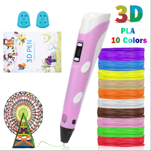 3D Pen LED Screen DIY Creative 3D Printing Pen with USB 100m ABS Filament Creative Toy Gift For Kids Design Drawing