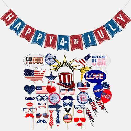 40pcs/set July 4th Theme Party Disposable Tableware Sets US National Flag Design Decorations Sets American Independence Day Party Supplies