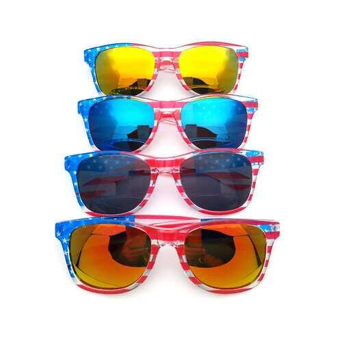 American America USA Flag Sunglasses Patriotic Clear Frame Classical 80s