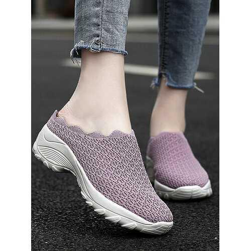 Mesh Platform Backless Shoes