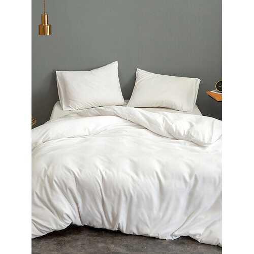 3 pcs/set Solid Color Silk Bedding Set Home Textile King Size Bed Set Bed Clothes Duvet Cover Flat Sheet Pillowcases