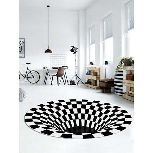 3D Round Carpet Checkered Vortexs Optical Illusions Non Slip Area Rug Durbale Anti-Slip Floor Mat Non-Woven Black White Doormat For Living Dinning Room Bedroom Kitchen