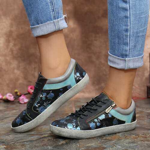Retro Printing Pattern Flat Sneakers