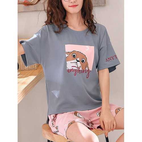 Cartoon Animal Print Pajamas Set