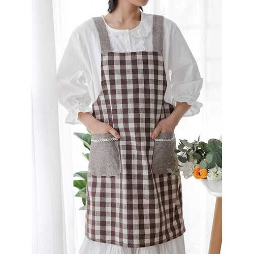 Japanese And Korean Style Cotton And Linen Strap Denim Apron Kitchen Wipeable Hand Apron