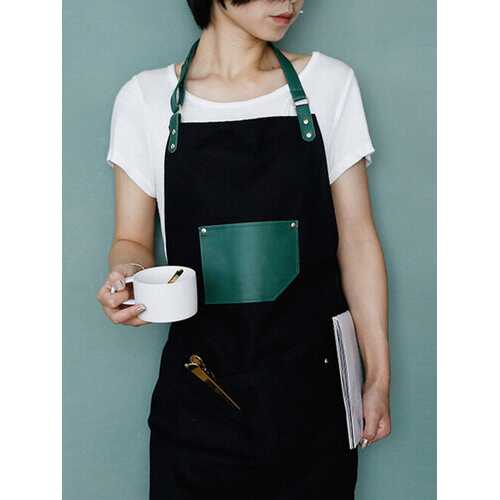 Leather Strap Work Apron Waterproof And -proof Restaurant Nail Shop Work Clothes Adult Apron