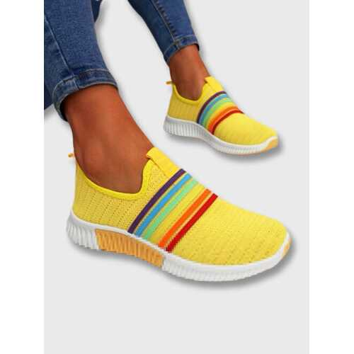 Rainbow Stripe Knitted Casual Walking Shoes