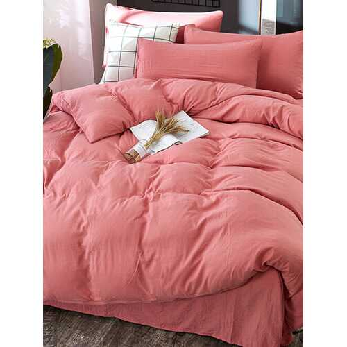 3/4 Pcs Non-printing Skin-washing Cotton Four-piece Quilt Cover Bedding Sets Single Double Bed Three-piece