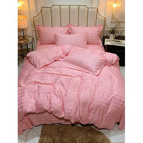 3/4 Pcs Nordic Solid Color Pure Satin Silk Bedding Set Stripe Quilt Covers Single Double Bed Sheet