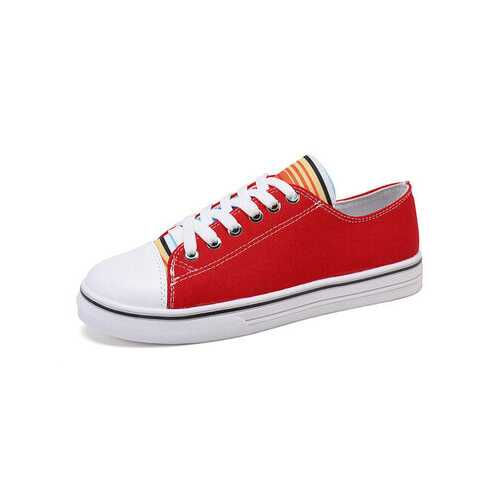 Lace Up Cloth Flat Casual Shoes