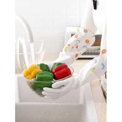 Plus Fleece Kitchen Cleaning Gloves Cartoon Fruit Kitchen Dishwashing Gloves Winter Warm Housework Gloves