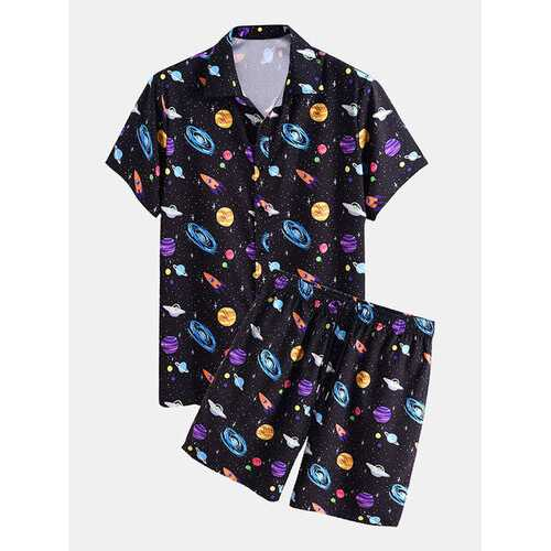 Cartoon Space & Planet Print Two Pieces