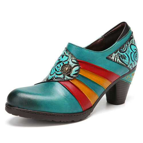 Colorblock Floral Printed Genuine Leather Splicing Heels Shoes
