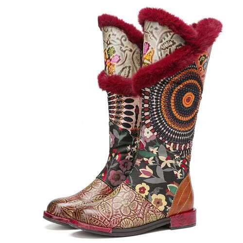Bohemia Terry Embroidery Floral Genuine Leather Boots
