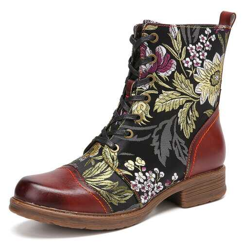 Elegant Flowers Embroidery Genuine Leather Zipper Boots
