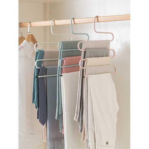 1 Pc Wrought Iron Pants Clip Household Wardrobe Multi-Layer S-Shaped Pants Rack Multi-Function Pants Storage Rack