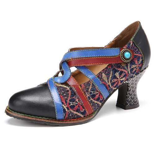 Retro Embroidery Splicing Leather Cross Strap Hook Loop Heels Shoes