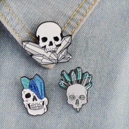 Crystal Skull Enamel Pin