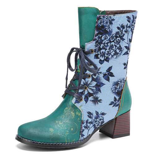 Elegant Flowers Cloth Splicing Floral Embossed Short Boots