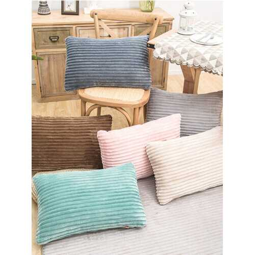 Striped Flannel Rectangular Pillowcase Backrest Cover Cushion Cover Pillowcase