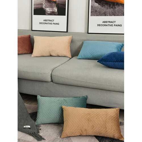 Nordic Velvet Solid Color Cushion Waist Pillow Rectangular Pillowcase Without Core Home Pillowcase