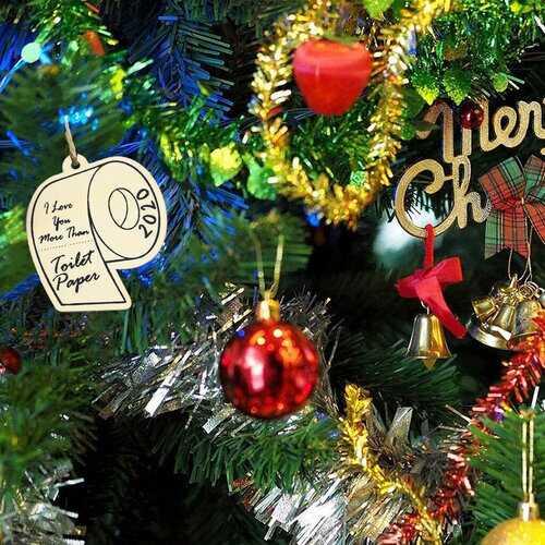 10Pcs Wooden Memorial Toilet Paper Pendant DIY Hanging Window Ornaments Christmas Ornaments Party Decoration