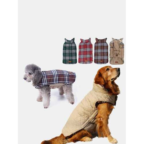 1 Pc Autumn Winter Pet Clothes Two Sides Available Plaid Dog Jacket Waterproof Golden Retriever Dog Clothing