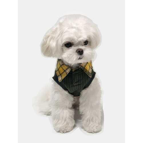 1 Pc Pet Clothes Autumn Winter Models Fake Two Pieces Plaid Collar Warm Corgi Bear Vest