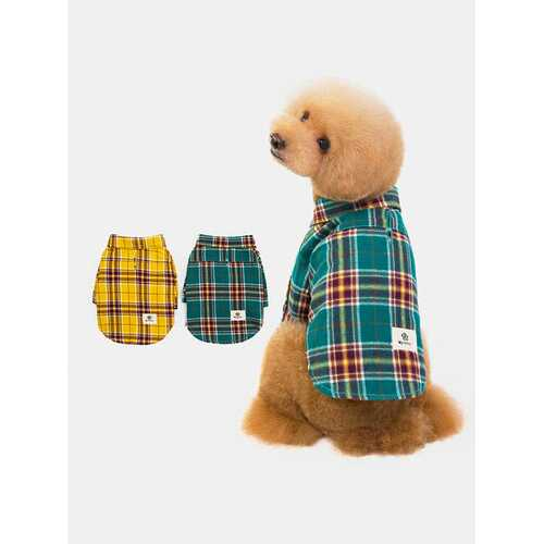 1 Pc Cute Pet Check Shirt Teddy Pug Dog Cotton Shirt Coat Clothes T-Shirt