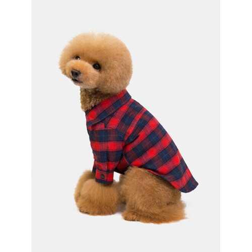1 Pc Dog Clothes Lapel Plaid Pet Clothes Classic Two-Legged Plaid Shirt Teddy Dog Clothes