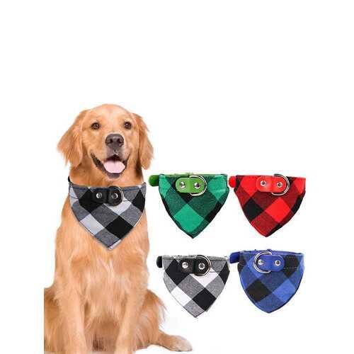 1 Pc Pet Bib Dog Saliva Towel Collar Cat Lattice Triangle Scarf Jewelry