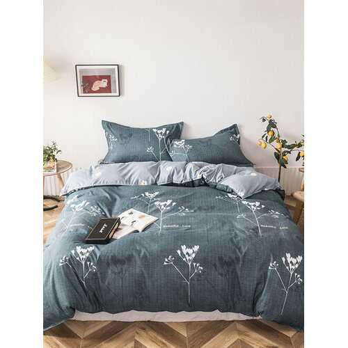 3/4 Pcs Floral Overlay Print AB Sided Aloe Cotton Comfy Bedding Set Sheet Duvet Cover Pillowcase