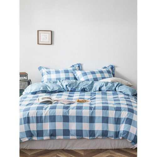 3/4 Pcs Plaid Printed Aloe Cotton Bedding Skin-Friendly Sheet Quilt Cover Pillowcase