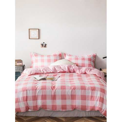 3/4 Pcs Plaid Double-Sided Aloe Cotton Bedding Skin-Friendly Soft Sheet Quilt Cover Pillowcase