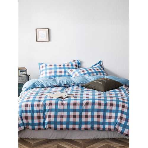 3/4 Pcs Plaid Color Block Double-Sided Aloe Cotton Bedding Skin-Friendly Sheet Quilt Cover Pillowcase